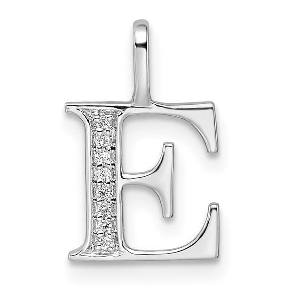 14K White Gold Diamond Letter E Initial Pendant PM8365E-003-WA