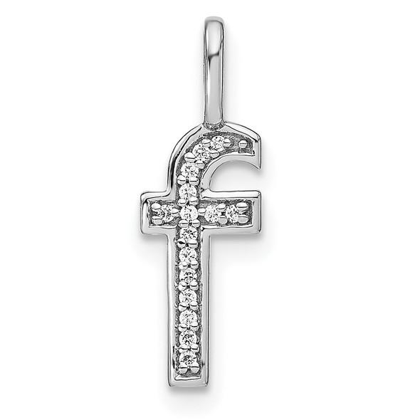 14K White Gold Diamond Lower Case Letter F Initial Pendant PM8368F-005-WA
