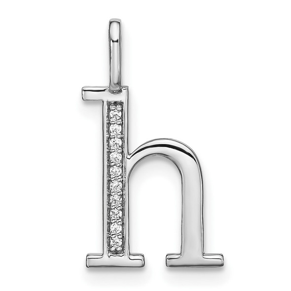 14K White Gold Diamond Lower Case Letter H Initial Pendant PM8366H-004-WA