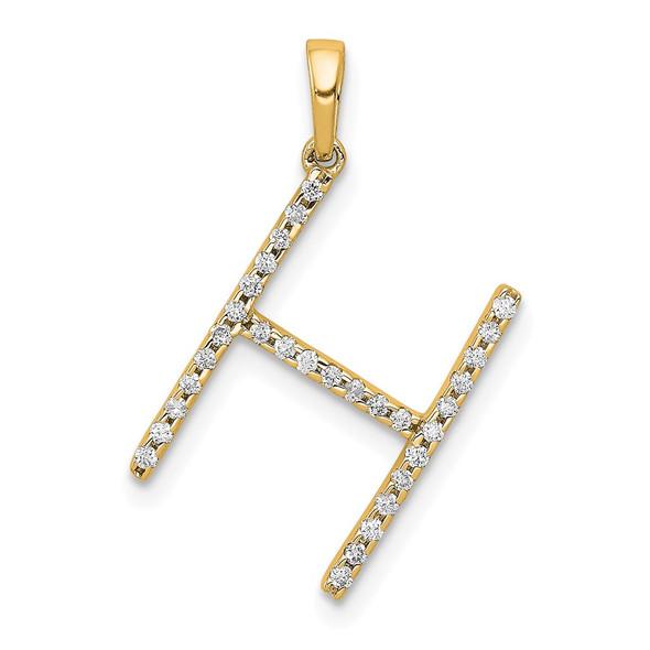 14k Yellow Gold Diamond Letter H Initial Pendant