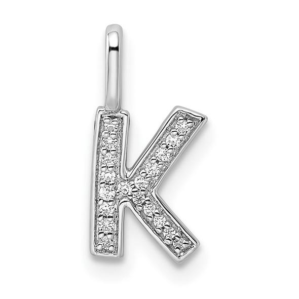 14K White Gold Diamond Letter K Initial Pendant PM8367K-006-WA