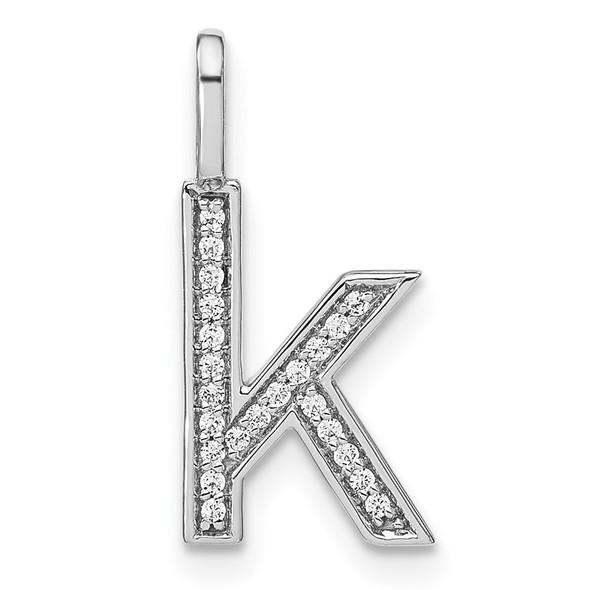 14K White Gold Diamond Lower Case Letter K Initial Pendant PM8368K-008-WA