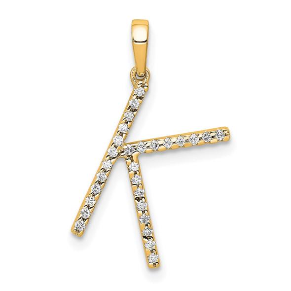 14k Yellow Gold Diamond Letter K Initial Pendant
