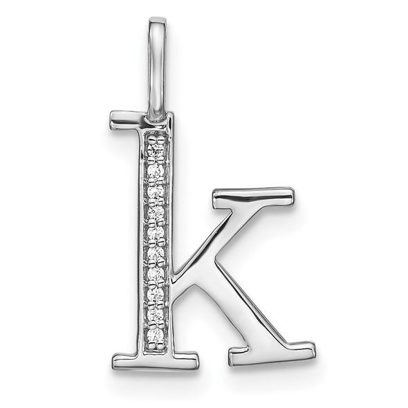 14K White Gold Diamond Lower Case Letter K Initial Pendant PM8366K-004-WA
