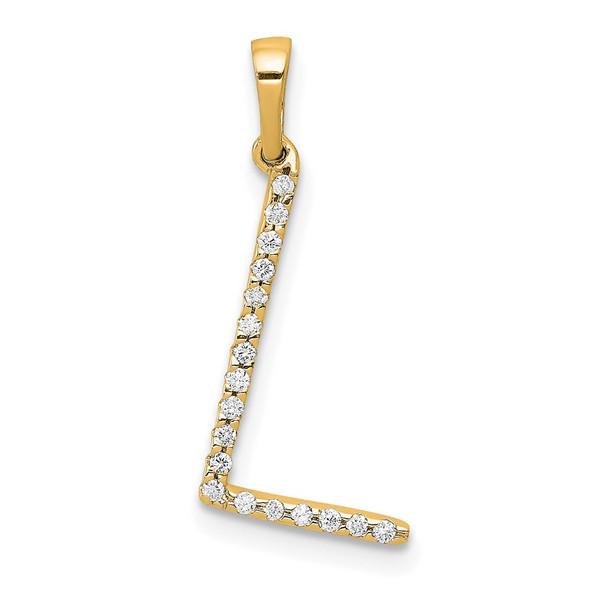 14k Yellow Gold Diamond Letter L Initial Pendant