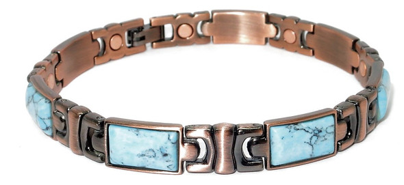 Seattle - Copper And Simulated Turquoise  Magnetic Bracelet