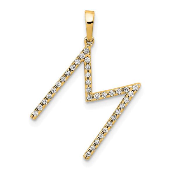 14k Yellow Gold Diamond Letter M Initial Pendant