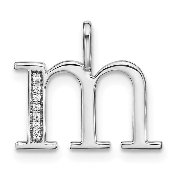 14K White Gold Diamond Lower Case Letter M Initial Pendant PM8366M-002-WA
