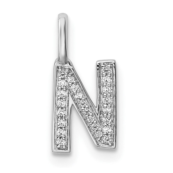 14K White Gold Diamond Letter N Initial Pendant PM8367N-008-WA