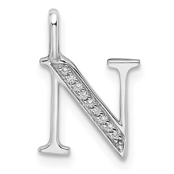 14K White Gold Diamond Letter N Initial Pendant PM8365N-003-WA
