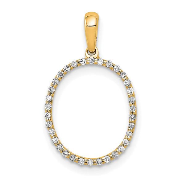 14k Yellow Gold Diamond Letter O Initial Pendant
