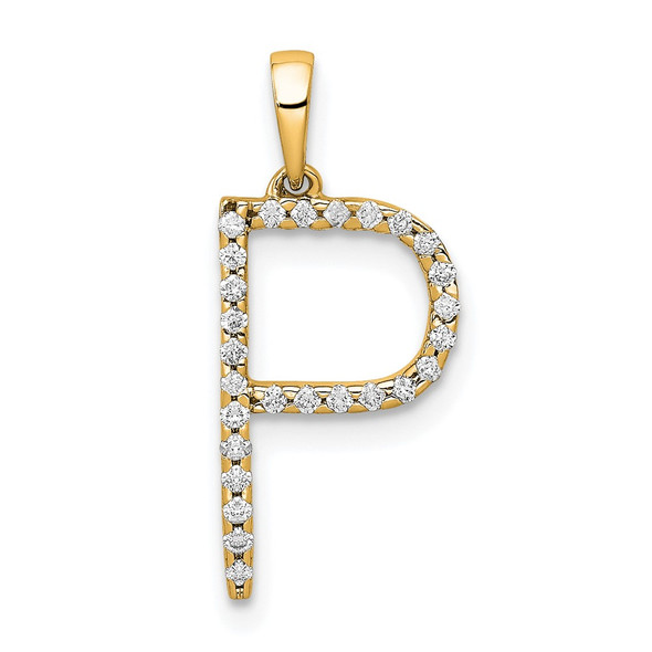 14k Yellow Gold Diamond Letter P Initial Pendant