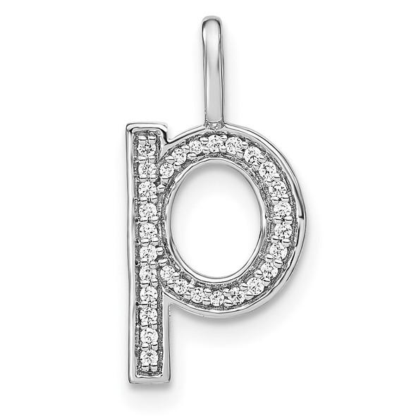 14K White Gold Diamond Lower Case Letter P Initial Pendant PM8368P-010-WA