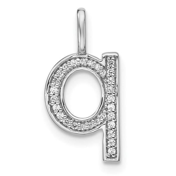 14K White Gold Diamond Lower Case Letter Q Initial Pendant PM8368Q-010-WA