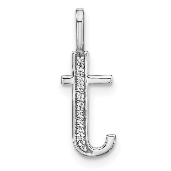 14K White Gold Diamond Lower Case Letter T Initial Pendant PM8366T-004-WA