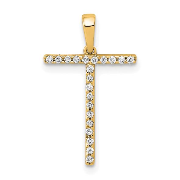 14k Yellow Gold Diamond Letter T Initial Pendant