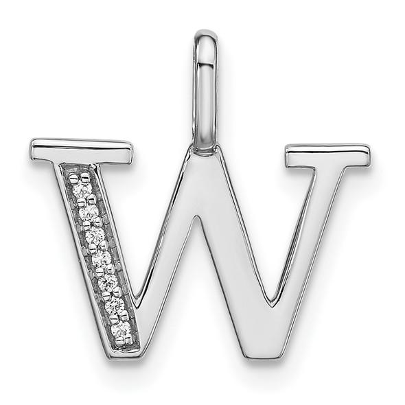 14K White Gold Diamond Lower Case Letter W Initial Pendant PM8366W-002-WA