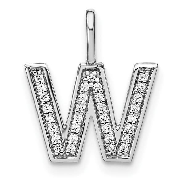 14K White Gold Diamond Lower Case Letter W Initial Pendant PM8368W-011-WA