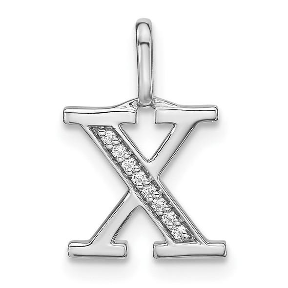 14K White Gold Diamond Lower Case Letter X Initial Pendant PM8366X-003-WA