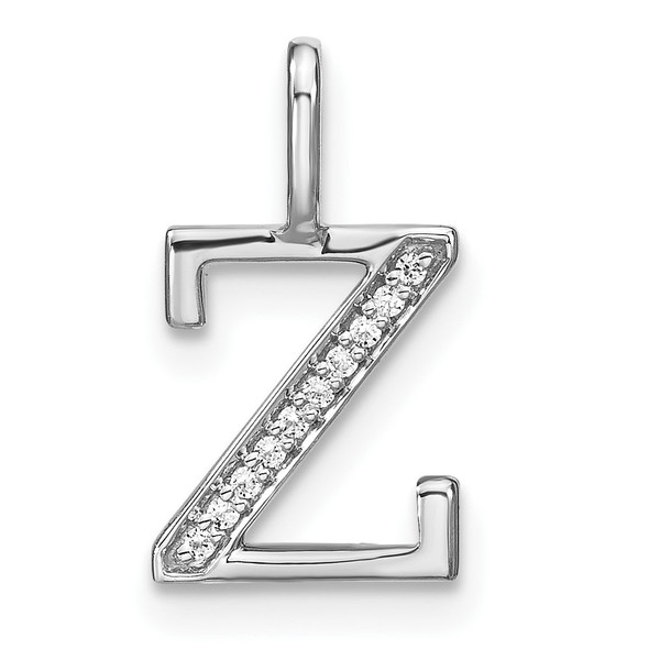14K White Gold Diamond Lower Case Letter Z Initial Pendant PM8366Z-004-WA