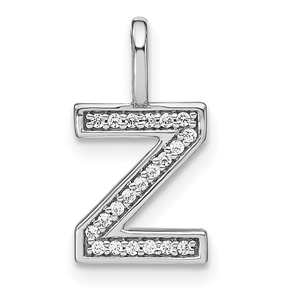14K White Gold Diamond Lower Case Letter Z Initial Pendant PM8368Z-007-WA