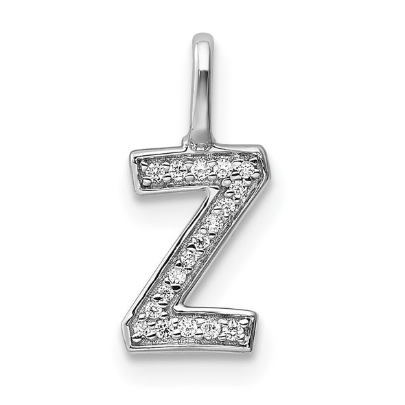 14K White Gold Diamond Letter Z Initial Pendant PM8367Z-006-WA