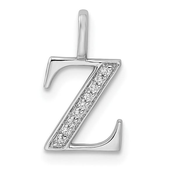 14K White Gold Diamond Letter Z Initial Pendant PM8365Z-004-WA