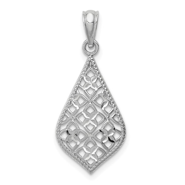 14K White Gold Diamond-cut Dangle Pendant