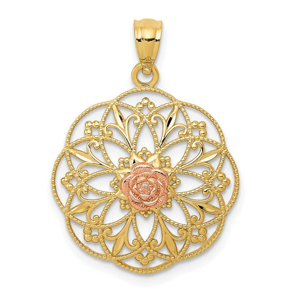 14k Yellow and Rose Gold Polished Rose in Round Filigree Pendant