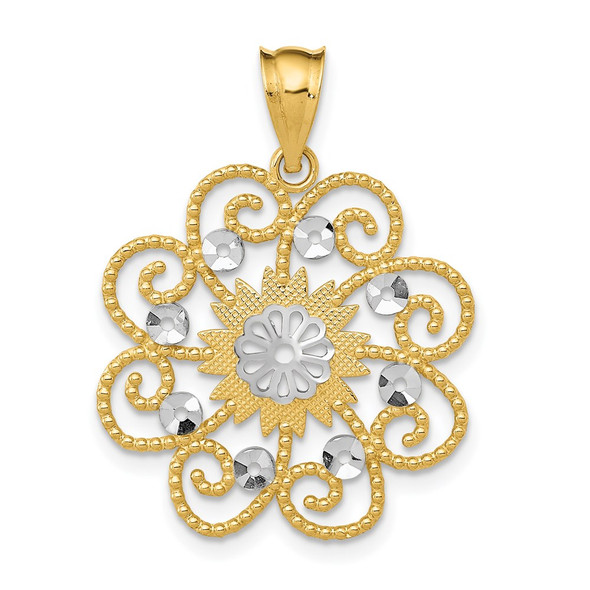 14k Yellow Gold and Rhodium Diamond-cut Swirl Round Pendant