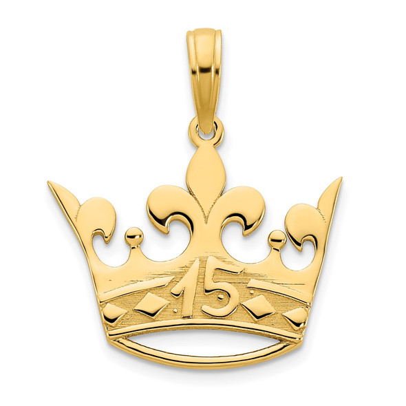14k Yellow Gold 15 Crown Pendant