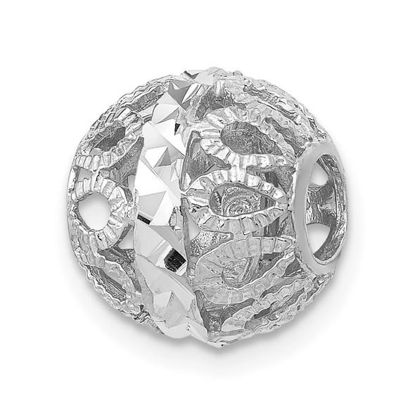14k White Gold Diamond-cut Filigree Ball Chain Slide Pendant