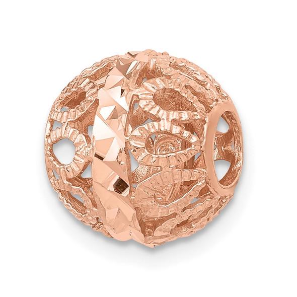 14k Rose Gold Diamond-cut Filigree Ball Chain Slide Pendant