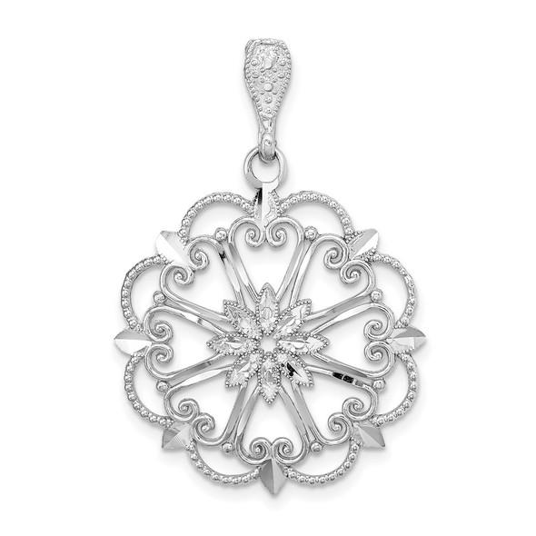 14K White Gold Starburst w/Heart Diamond-cut Beaded Pendant