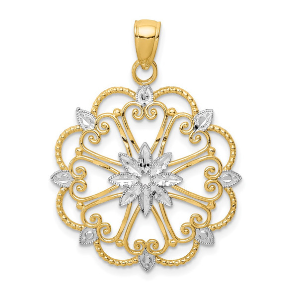 14k Yellow Gold and Rhodium Starburst Pendant