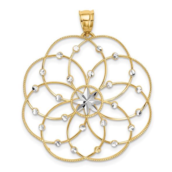 14k Yellow Gold and Rhodium Diamond-cut Spiral Circle Pendant