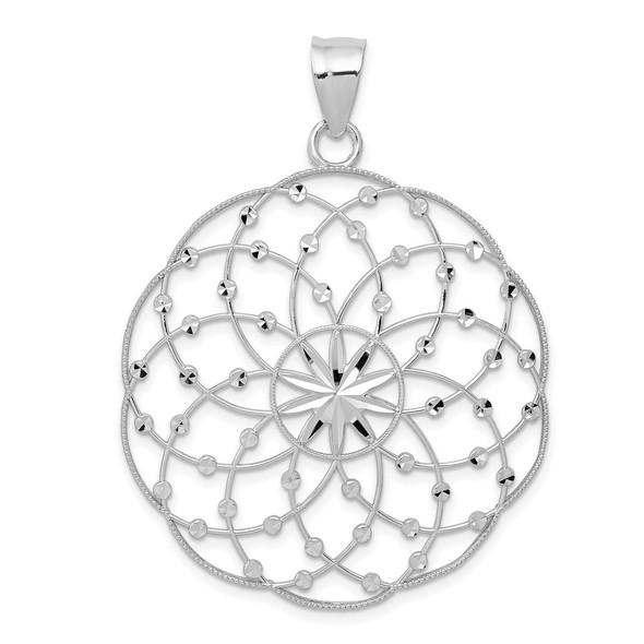 14k White Gold Diamond-cut Sphere Pendant