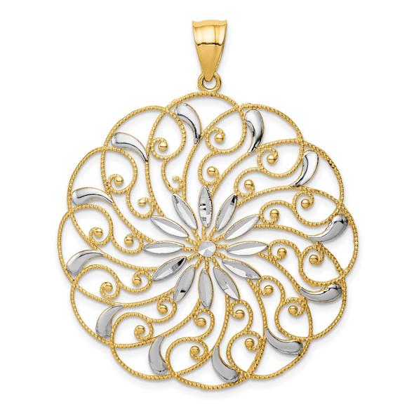 14k Yellow Gold and White Rhodium Meridian Swirl Pendant