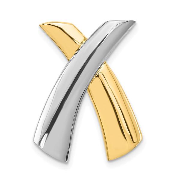 14k Two-tone Gold X Slide Pendant