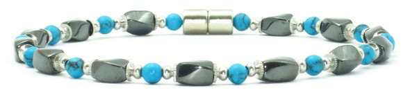 Simulated Turquoise Hematite - Magnetic   Anklet