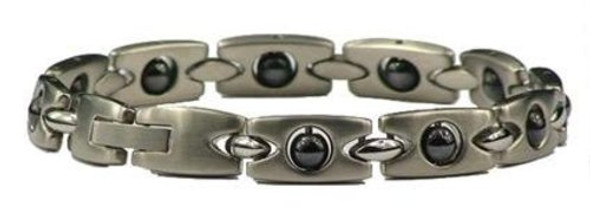 Silver Hematite Rectangles - Silver-Plated Stainless Steel magnetic bracelet