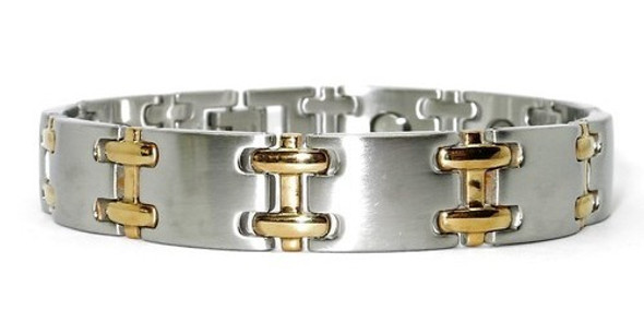 Combo Sideways H - Stainless Steel Magnetic Therapy  Bracelet