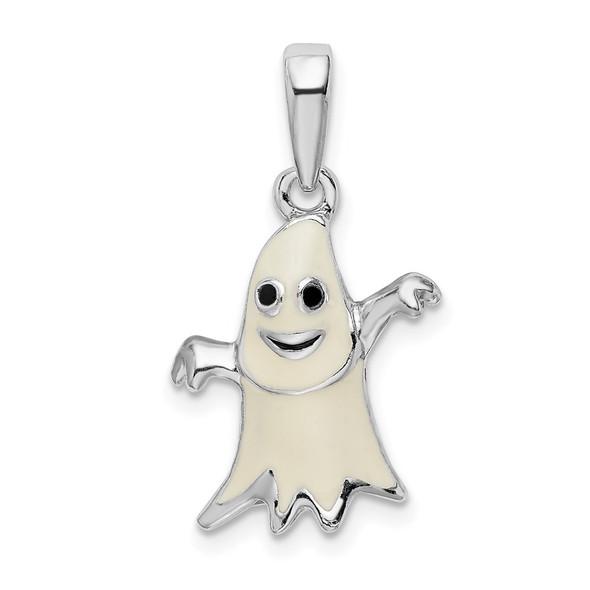 Sterling Silver Polished 3D Enameled Ghost Pendant