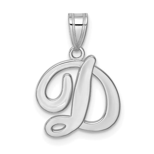 14k White Gold Script Letter D Initial Pendant