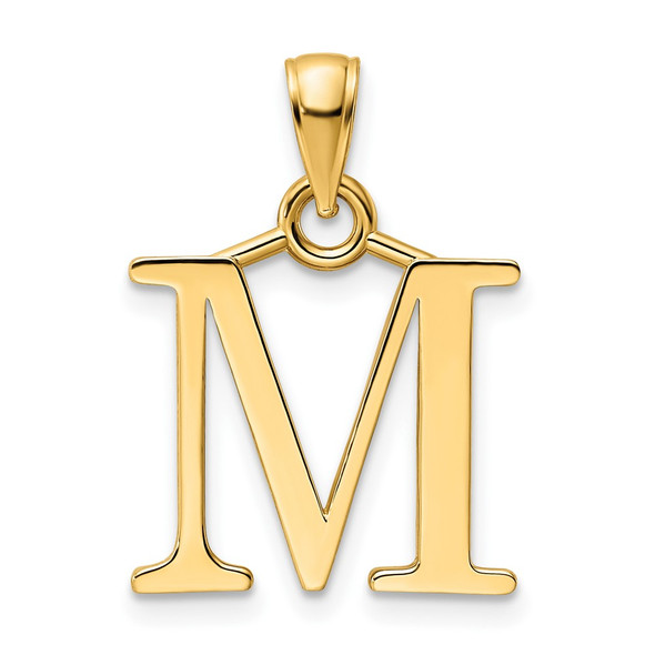 14k Yellow Gold Polished Letter M Pendant