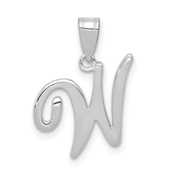 14k White Gold Script Letter W Initial Pendant