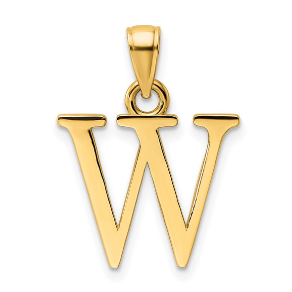 14k Yellow Gold Polished Letter W Pendant