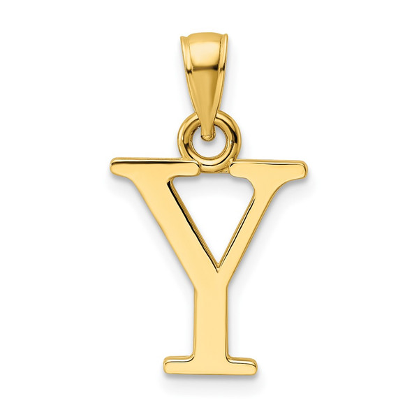 14k Yellow Gold Polished Letter Y Pendant