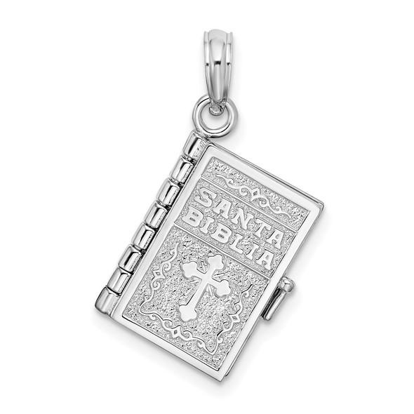 Sterling Silver Polish Moveable 3D Spanish Santa Biblia Pendant