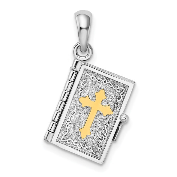 Sterling Silver Textured Lords Prayer Bible w/14k Yellow Gold Cross Pendant